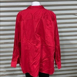 Lane Bryant Tops - Lane Bryant red long sleeve button up blouse